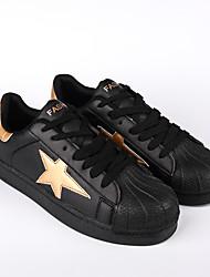 Masculino-Tênis-Conforto-Rasteiro-Azul Preto e Dourado Preto e Branco-Microfibra-Ar-Livre Casual Para Esporte