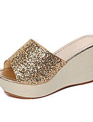 Women's Shoes Glitter Summer Peep Toe / Platform Sandals Dress / Casual Wedge Heel Sparkling Glitter Silver / Gold