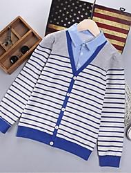 Boy's Sports Striped Sweater & Cardigan,Cotton / Rayon Winter / Spring / Fall Blue