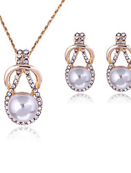 Elegant White Pearl Drop Pendant Necklace & Earrings Jewelry Set with Crystal