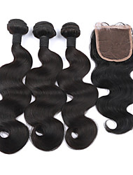 Unprocessed Brazilian Virgin Hair Human Hair Weaves Lace Closure With Bundles Body Wave Human Hair With Closure