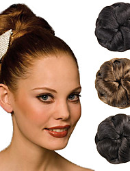Wedding Bridal Updo Chignon Bun Clips Braids Synthetic Straight Hair Extensions Brown