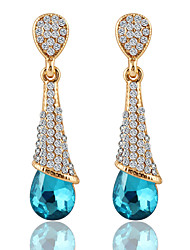 Temperament Maiden Water Droplets Shape Sapphire Earrings Bridal Accessories