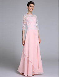 Lanting Bride® Sheath / Column Mother of the Bride Dress Floor-length Half Sleeve Chiffon with Lace / Ruffles