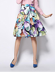 Women's Floral Beige / Purple Skirts,Sophisticated Knee-length