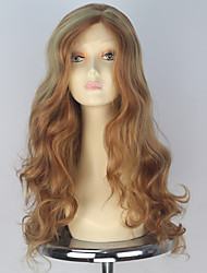 60cm Synthetic Women Long Wavy Hair Honey Blonde Highlight Color Lace Front Wig Thick Hair Fashion Party Wigs