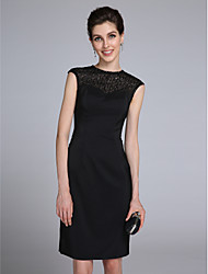 LAN TING BRIDE Sheath / Column Mother of the Bride Dress - Little Black Dress Knee-length Sleeveless Satin with Beading