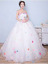 Ball Gown Wedding Dress Wedding Dress in Color Floor-length Strapless Organza with Appliques