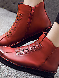 Boots Winter Leather Casual Flat Heel Zipper Black Brown Red