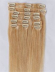 # 613 lixívia clipes de cor loira em linha reta tramas brasileiras máquina de cabelo humano feitas de cabelo extensões cabeça cheia