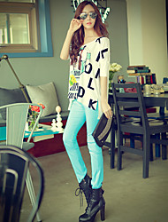 Pink Doll® Women's Slim Mid Rise Cigarette Blue Casual / Wear to work Pants-X15BTR001