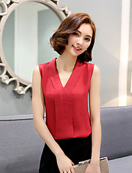 Women's Going out Simple Summer Blouse,Solid V Neck Sleeveless Red / White Rayon Sheer