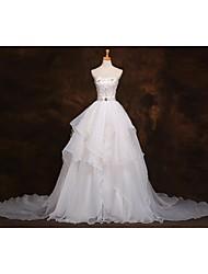 2017, una línea de organza de tren tribunal vestido de novia con rebordear