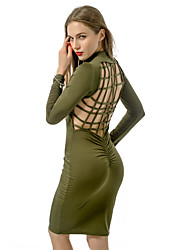 Women's Club Simple Bodycon Slim Cut Out Backless Sexy Dress,Solid Crew Neck Above Knee Long Sleeve Green