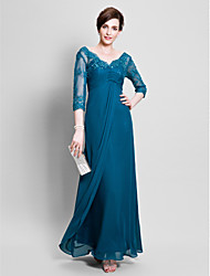 Ball Gown Mother of the Bride Dress Floor-length Chiffon with Beading / Lace