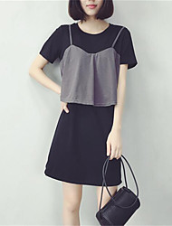 Women's Casual/Daily Street chic Loose Dress,Color Block Round Neck Above Knee Short Sleeve Black Polyester Summer
