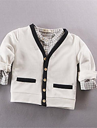 Girl's Casual/Daily Solid Blouse,Cotton Fall Blue / White