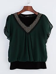 Women's Solid Red/Black/Green Blouse, Plus Size Beaded V Neck Short Petal Sleeve