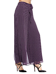 HEARTSOUL Women's Print Purple Wide Leg Pants,Simple