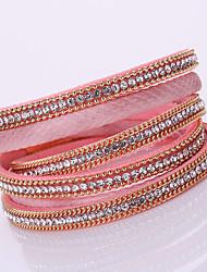 Pulseiras Pulseiras em Correntes e Ligações / Enrole Pulseiras / Pulseiras de couro / tear Bracelet Liga / Pele / Strass Forma Geométrica