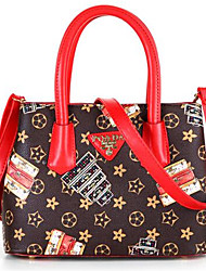 Women PU Formal Tote Red