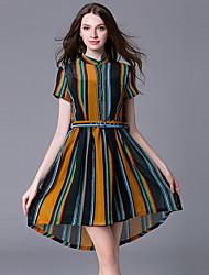 Women's Going out Vintage Sheath Dress,Striped Shirt Collar Asymmetrical Short Sleeve Yellow Linen Summer