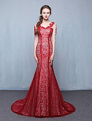 Formal Evening Dress Trumpet / Mermaid Scoop Court Train Lace with Appliques