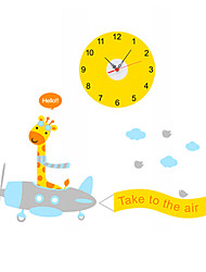 Cartoon Giraffe Airplane Take To The Air Wall Stickers With Wall Clock Children's Bedroom Home Decor