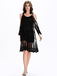 Women's Going out Sexy Lace Dress,Solid Round Neck Knee-length Long Sleeve Black Polyester Summer