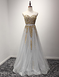 Formal Evening Dress A-line Sweetheart Floor-length Organza with Sequins