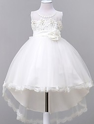 Ball Gown Asymmetrical Flower Girl Dress - Satin / Tulle / Polyester Sleeveless Jewel with Bow(s) / Flower(s)