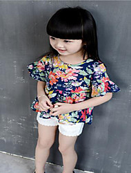 Girl's Casual/Daily Floral Blouse,Cotton Summer Blue / White