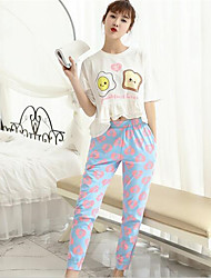 Women's Casual/Daily Simple Summer Set,Geometric Round Neck ½ Length Sleeve White Cotton Thin