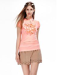 Herz Soul® Damen Rundhalsausschnitt Ärmellos T-Shirt Orange-11AA22840