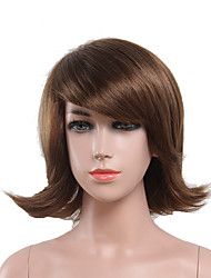 Capless Brown Color High Quality Natural Short Curly Synthetic Wig