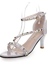 Zapatos de mujer-Tacón Stiletto-Tacones-Sandalias-Oficina y Trabajo / Casual / Fiesta y Noche-Semicuero-Rojo / Gris