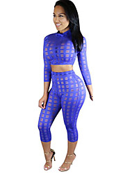 Women's Solid Sexy Simple Slim Casual Club See-through Set,Crew Neck Long Sleeve