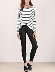 Damen Gestreift Einfach Lässig/Alltäglich T-shirt,Rundhalsausschnitt Frühling / Herbst Langarm Weiß Baumwolle Mittel