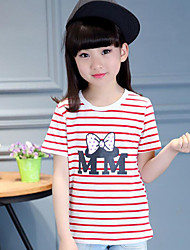 Girl's Casual/Daily Striped Blouse,Cotton Summer Black / Red
