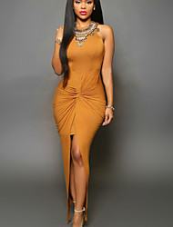 Women's Sexy Round Collar Solid Asymmetrical Split Bodycon Sleeveless Dress