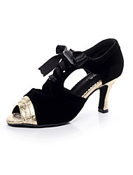 Women's Dance Shoes Suede Suede Latin / Salsa Sandals Flared Heel Professional / Indoor Silver / Gold