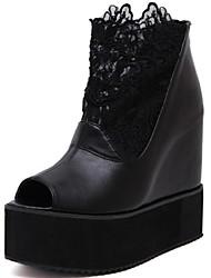 Women's Shoes Silk Summer Wedges / Open Toe Sandals Dress Wedge Heel Flower Black / White