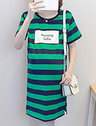 Maternidad Recto Vestido Casual/Diario Simple,A Rayas Escote Redondo Sobre la rodilla Manga Corta Verde Algodón Verano