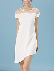 Mulheres Bainha Vestido,Festa/Coquetel Sensual Sólido Decote Redondo Assimétrico Manga Curta Branco / Preto Poliéster Verão