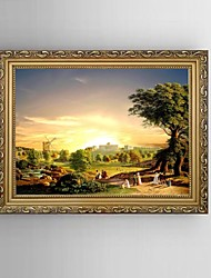 HD Print Painting European Classical Landscape with Stretched Delicate Framed