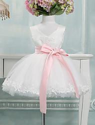 Ball Gown Knee-length Flower Girl Dress - Tulle Sleeveless V-neck with Bow(s)