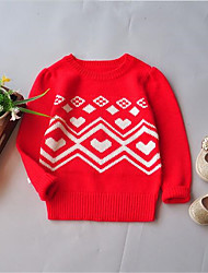 Girl's Casual/Daily Solid Sweater & Cardigan,Cotton Spring / Fall Red