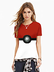 Inspired by Pocket Monster PIKA PIKA Anime Cosplay Costumes Cosplay Tops/Bottoms Print Red Short Sleeve Top