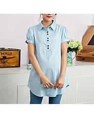 Maternity Shirt Collar Ruffle Shirt,Cotton Long Sleeve