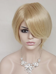 Европа и Соединенные Штаты золотой 10 дюймов высокая температура короткие прямые волосы шелк парик